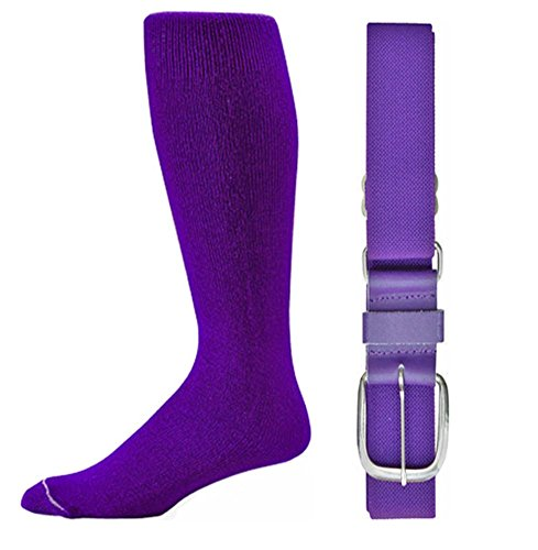 Joe's USA - Baseball Socks & Belt Combo Set Colors Available (Purple, Youth (7-9))