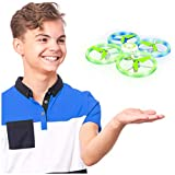 UFO1 Hands Free Mini Drone for Kids - Small Drones for Beginners with Glowing LEDs, Hand Operated Flying Mode, 2.4 GHz Remote, 3 Speeds, 360 Flips, Altitude Hold
