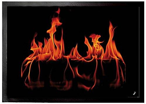 1art1® Fires Door Mat Floor Mat - Warm Fireplace (28 x 20 inches) by 1art1