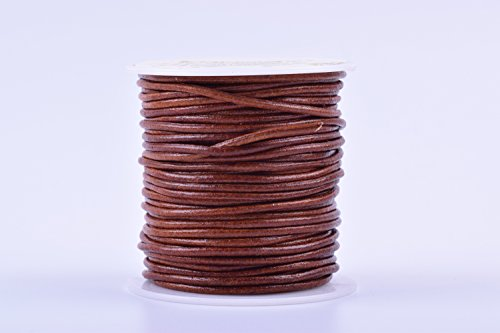 KONMAY 1Roll 25 Yards 2.0mm Distressed Brown Color Soft Round Real Jewelry Leather (Brown Leather Strap Jewelry)