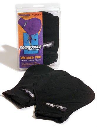 AquaJogger Webbed Pro Water Fitness Gloves (Black, Large)