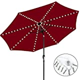 4.3Ft 8-Ribs Patio Umbrella String Lights, 104 LEDs 8 Mode Battery Operated with Remote Control Waterproof for Bar Restaurant Indoor Outdoor Garden Backyard Christmas Xmas Holidays Party - White