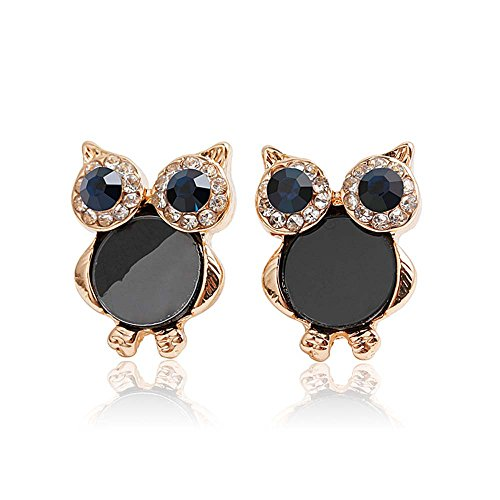 Miweel Sweet Diamond Owl Black Gold Stud - Rapid City Shopping