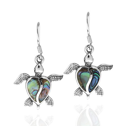 Abalone Turtle - Love Life Sea Turtle Heart Abalone Shell .925 Sterling Silver Dangle Earrings