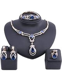 Exquisite Zircon Crystal Necklace Earring Bracelet Ring...