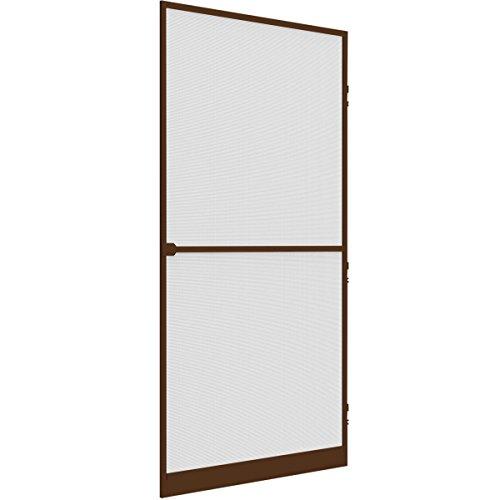 Insektenschutz Tür 100 x 215 cm mit Alurahmen in braun & Fliegengitter aus Fiberglas Selbstschließ-Mechanismus, Schnittkantenabdeckung, individuell kürzbar, einfache Montage - SONDERPOSTEN