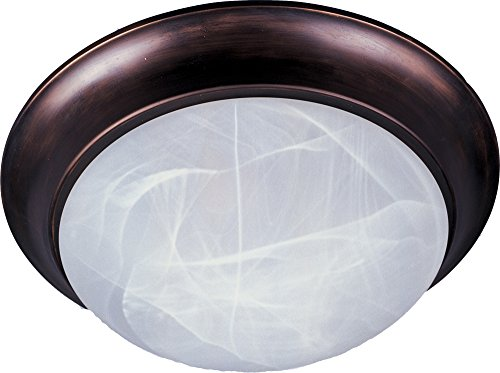(Maxim 5851MROI Essentials 2-Light Flush Mount, Oil Rubbed Bronze Finish, Marble Glass, MB Incandescent Incandescent Bulb , 60W Max., Dry Safety Rating, Standard Dimmable, Glass Shade Material, Rated Lumens)