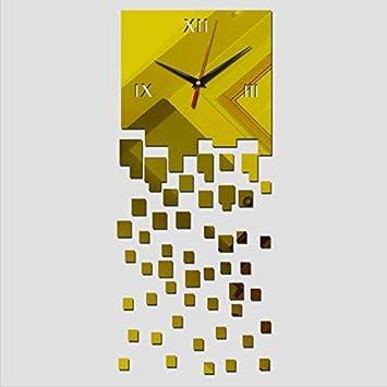WYFCC Réplica Relojes De Pared De Diseño Moderno Calcomanías Autoadhesivas Reloj Digital Salón Arte 3D Oro: Amazon.es: Hogar