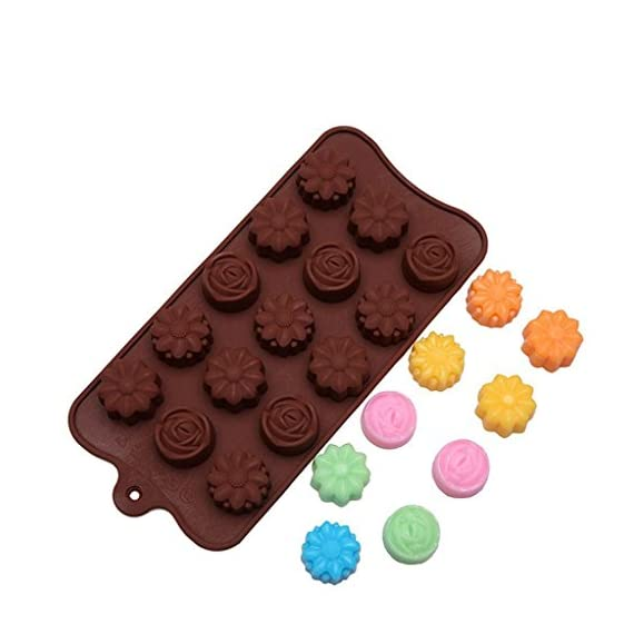 Gessppo 15-Cavity Silicone Cake Mold Flower Rose Chocolate Soap Mold Ice Tray Mold Baking Tools Resistant High Temperature Easy to Operate and Clean 6 ❤❤️Material:silicone-----Color:coffee-----Size:approx. 22 x 10.5 x 1.5cm; Diameter of each flower: approx. 2.9cm ❤❤️12 Cup Silicone Muffin - Cupcake Baking Pan / Non - Stick Silicone Mold / Dishwasher - Microwave Safe; 2Packs Silicone Mini Muffin Pan, Silicone Molds for Muffin Tins, Cupcake Baking Pan (Red);Ware Platinum Collection Heritage Bundt Pan ❤️❤️Reusable Silicone Baking Cups, Pack of 12; Silicone Cake Mold Magic Bake Snake-DIY Baking Mould Tool Design Your Pastry Dessert with Any Pan Shape, 4 PCS/lot Nonstick Flexible Reusable Easy to Use and Wash, Perfect Gift Idea for Your Love