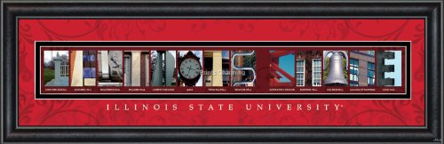 Prints Charming Letter Art Framed Print, Illinois State University-Illinois State, Bold Color (Illinois University Framed)
