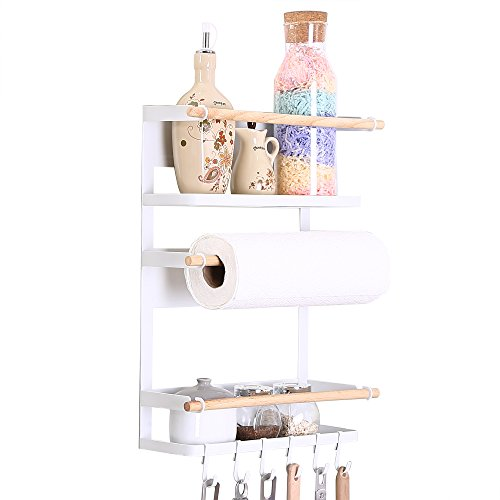 Kitchen Rack Fridge Magnetic Organizer - 2018 New Design Paper Towel Holder, Rustproof Spice Jars Rack, Heavy-duty Refrigerator Shelf Storage Including 6 Removable Hooks (WHITE)