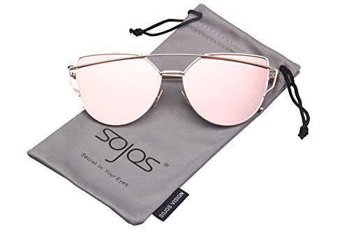 SojoS SJ1001 Cat Eye Mirrored Flat Lenses Street Fashion Metal Frame Women Sunglasse With Gold FramePink Lens