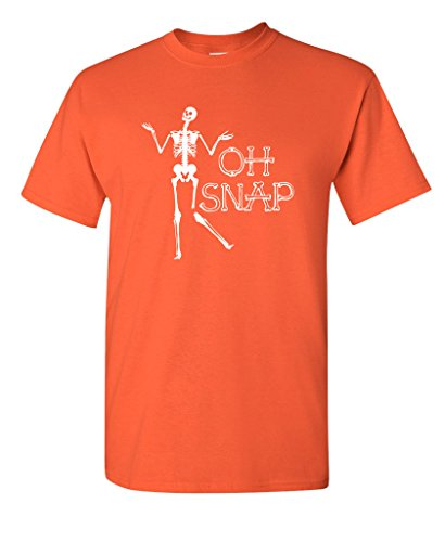 Funniest Mens Halloween Costumes (Oh Snap Skeleton Halloween Costume Novelty Sarcasm Graphic Funny T Shirt XL Orange)