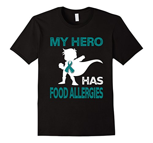 Mens My Hero Has Food Allergies T Shirt Xl Black