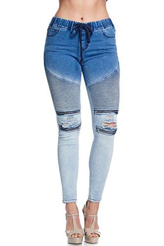 American Bazi Women's Premium Ombre Moto Denim Jogger RJJ836 - BLUE - 2X-LARGE - - Jeans Bleached