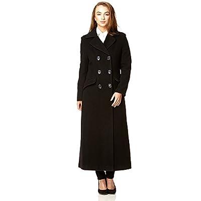 De la Crème Women`s Double Breated Fitted Long Coat