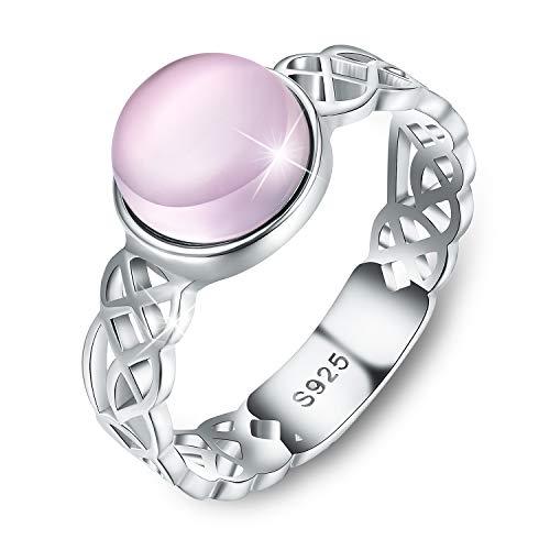 Esberry 18K Gold Plating 925 Sterling Silver Celtic Knot Rings with Natural Stone Cross Rings for Women and Girls (Silver-Rose Quartz, 6.5)