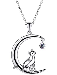 Cat Moon Necklace Sterling Silver S925 Stamp Polished Kitten on The Moon with Cubic Zirconia Pendant & Chain
