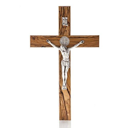 Enchanting Holy Land Handmade St. Saint Benedict Wall Wood Cross Crucifix Silver Plated (10
