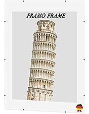 Framo 'Free' Klimlijst lijst zonder lijst 32 x 61 cm met MDF-achterwand en anti-reflecterend kunstglas, op maat gemaakte lijst zonder rand in de gewenste maat voor bijv. foto's, foto's, posters of puzzels