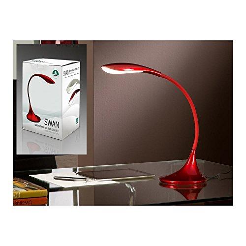 Schuller Spain 549234I4L Modern Red Swan Neck Table Lamp 1 Light Living Room, bed room, Study, Bedroom LED, Adjustable swan neck desk lamp | ideas4lighting by Schuller