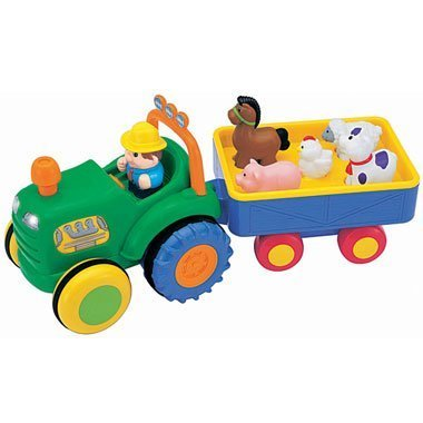 Kiddieland Farm Tractor with Trailer - Sing a Long Songs, Animal Sounds, Tractor - Includes Farmer & 4 Animals! 12 Months + by Kiddieland