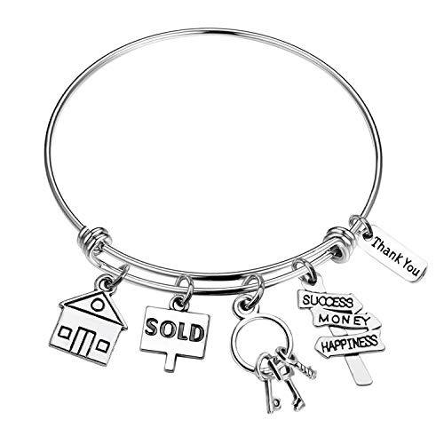 MYOSPARK Realtor Bracelet Real Estate Agent Charms Stainless Steel Expandable Wire Bangle Bracelet Realtor Jewelry Gifts Thank You Gift (Real Estate Agent Bracelet) (Be A Real Estate Agent Part Time)
