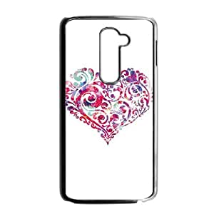 LG G2 Cell Phone Case Black Swirly Heart Uphdd