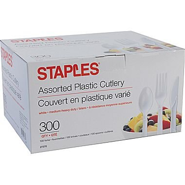staples-plastic-cutlery-assorted-forks-knives-spoons-white-300-box
