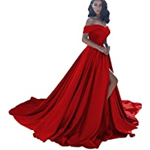 Dressesonline Women's Off Shoulder A Line Split Prom Evening Dresses Long Formal Gown