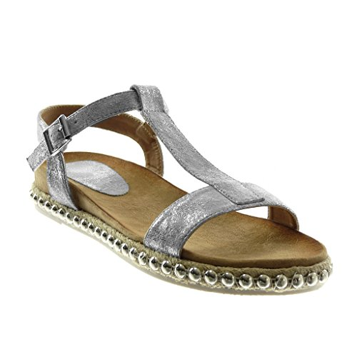 cm Cord Sandals Women's Ankle Bar t Fashion 5 Angkorly 3 Silver Strap Shiny Shoes Studded Heel Block wvqUSSZ