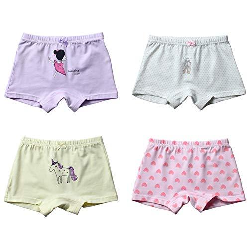 (FORUSKY 4 - Pack Soft Cotton Toddler Girls' Boyshort Underwear Boxer Briefs Panties)