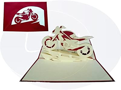 LIN Pop Up 3D Greeting Card for Motorcycle Enthusiasts, Motorcycle (Type Sport/Supersport), (#157)