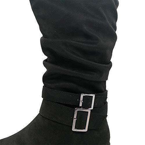 Retro stivaletto Fibbia Casual Slouch Camoscio Moda In Da Inverno Racchetta Scamosciata Stivaletti Donna Mid Con Caldo Scarpa Black Calf xISCqwn5Yn