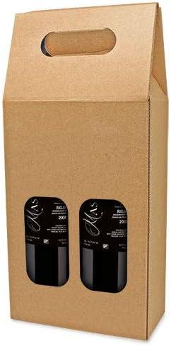 DISOK Lote de 25 Cajas de Cartón con Ventana para 2 Botellas. Estuches de Vino Caja Vino para Bodas, Bautizo, comuniones. No Incluye Botellas.: Amazon.es: Hogar