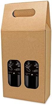 DISOK Lote de 25 Cajas de Cartón con Ventana para 2 Botellas. Estuches de Vino Baratos. Caja Vino para Bodas, Bautizo, comuniones. No Incluye Botellas.