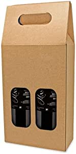 DISOK Lote de 25 Cajas de Cartón con Ventana para 2 Botellas ...
