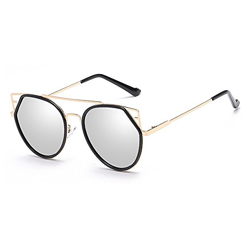 metálica Para de de mujeres sol UV de Retro Gafas hombres para con ribeteadas Lente de Gafas gato unisex Conducción y Personalidad Ojos Gafas sol sol sol montura Gafas Protección Plata viajar de colorida qf4Xfaw