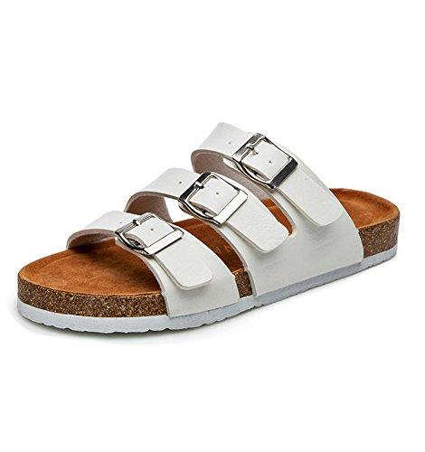 Damen Flache Sandalen mit Korkfußbett Comfort Strandschuhe Flip-Flops Sandalette Komfort Zehentrenner 41 schwarz weiß nQR0fsCk