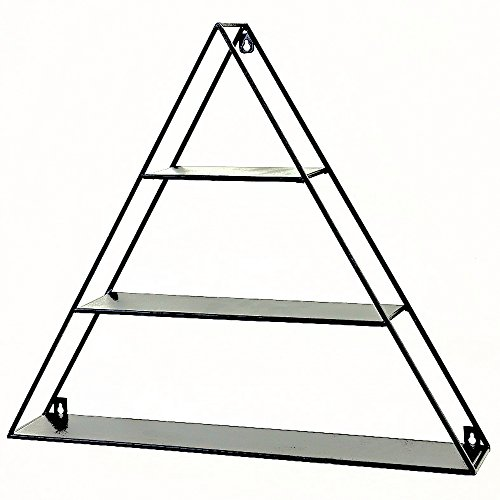 Garment Storage Wall Unit - Whole House Worlds The Industrial Chic Triangle Floating 3 Shelf Unit, Wall Mounted Piece, Black Iron, 23½ L x 4 W x 20½ H inches, By