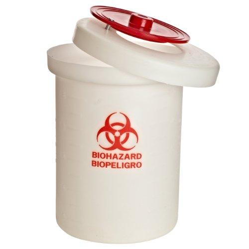 Nalgene 6920-0060 Biohazard Waste Container With Cover, Polypropylene, Large, 23 Liter by Nalgene
