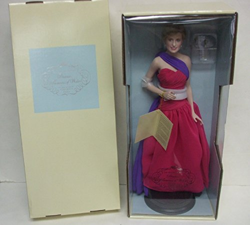 Franklin Mint - Diana Princess of Wales - Porcelain Portrait Doll - Diana - Princess Of Culture in Pink Dress with Purple Sash Pink Princess Porcelain