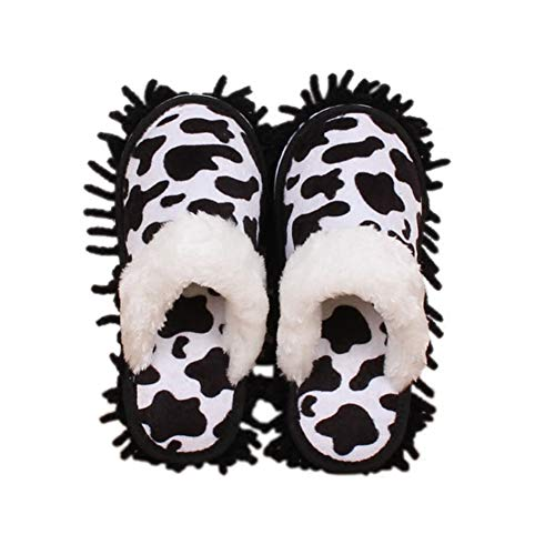 Frjjthchy Microfiber Floor Mop Slippers House Dust Cleaning Tool Detachable Washable Shoes for Kitchen House Cleaning (Women 7-10/Men 5-8, Cow pattern)