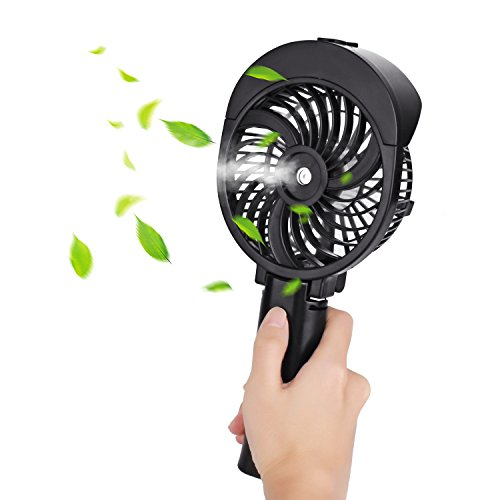 Handheld Misting Fan, Foldable USB & Battery Operated Portable Personal Cooling Fan, 3 Speed for Outdoor Travel Desktop (Black)