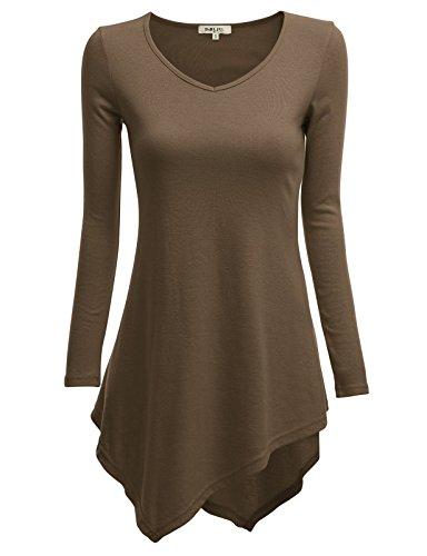 Doublju V-Neck Tunic Handkerchief Longline Tunic T-Shirt Dress Top For Women With Plus Size MOCHA MEDIUM ()