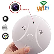 Hidden Camera Smoke Detector, Kolis Wireless Hidden Wi-Fi Network Spy Camera for Home Security Camera Motion Activated with Remote Control APP for iOS and Andriod Phone Smoke Detector (Free 8G Micro SD Card)