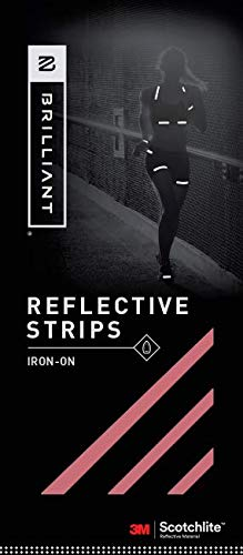 Brilliant Reflective Iron-on Reflector Tape for Running: Adhesive Iron-on Strips for Clothing Made of 3M Scotchlite Reflective Safety Material - Washable and Waterproof - Pack of 10