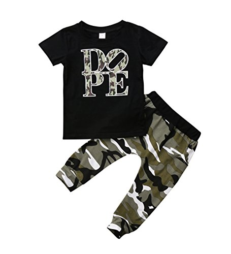 Toddler Baby Boy Clothes Short Sleeve Black T-Shirt +Camo Pants Outfits Tops Set (4T) -