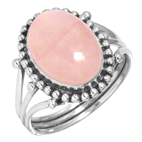 925 Sterling Silver Women Jewelry Natural Rose Quartz Ring Size 8