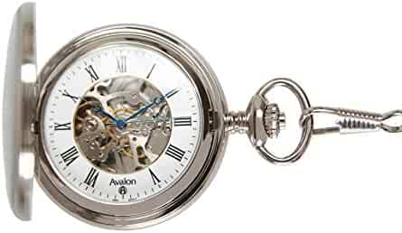 Avalon 17 Jewel Mechanical Skeleton Silver-tone Covered Pocket Watch with Chain, #4037S